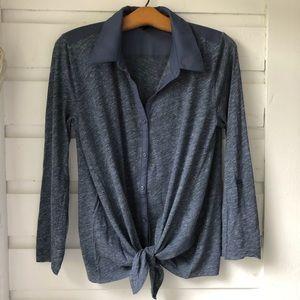 Ann Taylor Blue Tie-Waist Top